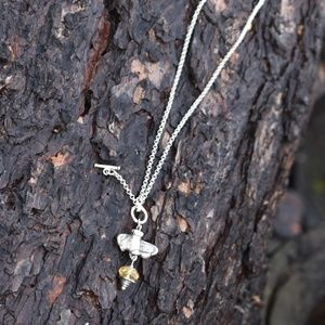 ARTISAN Jewelry - STERLING BUMBLE HONEY BEE TOGGLE NECKLACE CITRINE